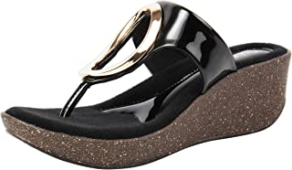 Catwalk Women's Cut Out Wedges in Black Fashion Sandals