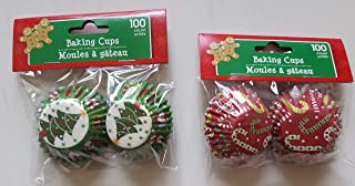 Mini Baking Cups Muffin Liners, Disposable Cupcake Holders, Christmas Holiday Design Paper Wrappers. (Pack of 200)