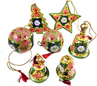 Handmade Crafted Christmas Tree Decoration Hanging 7 Accessories Set Including 3 Bells, 2 Balls, 1 Tree & 1 Star | Kids Christmas Crafted Tree Decoration Ornaments Project | Paper Mache Kashmir Craft