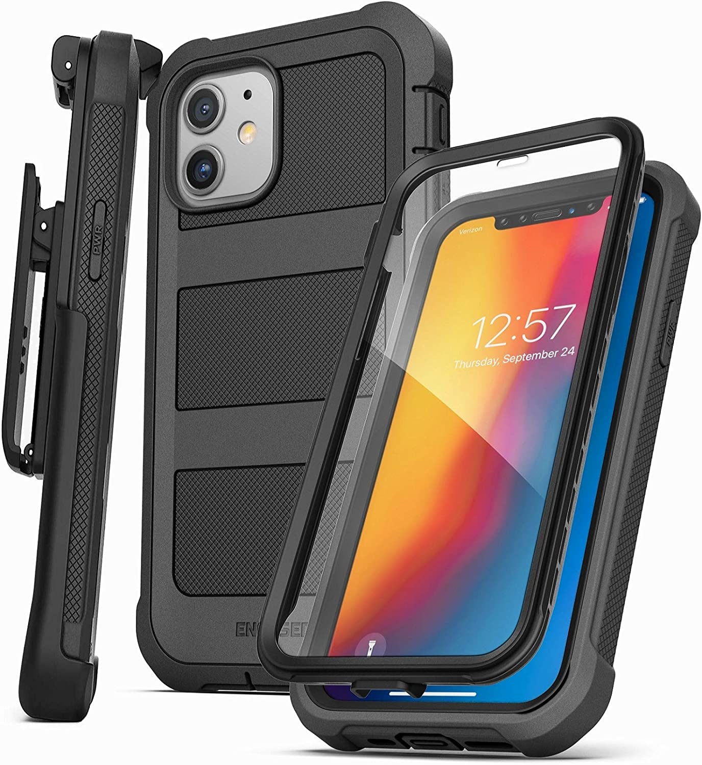 Encased Falcon Armor Designed for iPhone 12 Case with Built-in Screen Protector (Ultra Protective) Full-Body Cover with Belt Clip Holster (Black)