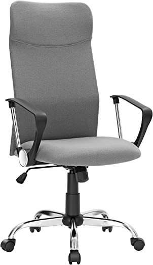 SONGMICS Bürostuhl, ergonomischer Schreibtischstuhl, Drehstuhl, gepolsterter Sitz, Stoffbezug, höhenverstellbar und neigbar, bis 120 kg belastbar,…