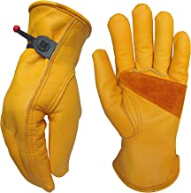 Heavy-Duty Cowhide Work Gloves Leather Work Gloves for Industrial/Mechanic/Gardening/Cutting/logging/Yard/Construction/Motorcycle/Farm, Men & Women (Large (1 Pair))