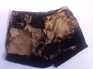 Black Denim Shorts, Upcycled, 18W, Jean, Distressed, Bleached, Fray, Cuffed, Custom