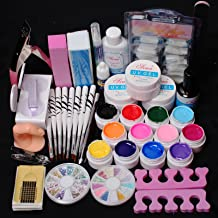 US Seller ~ 24 in 1 Combo Set Professional Color UV Builder Gel DIY Nail Art Decorations Kit Brush Buffer Cuticle Revitalizer Oil Pen Tools Natural White Nail Tips Rhinestones Pearls Cutter Sanding Files Forms Glue UV Gel Set #43 (E) by RY