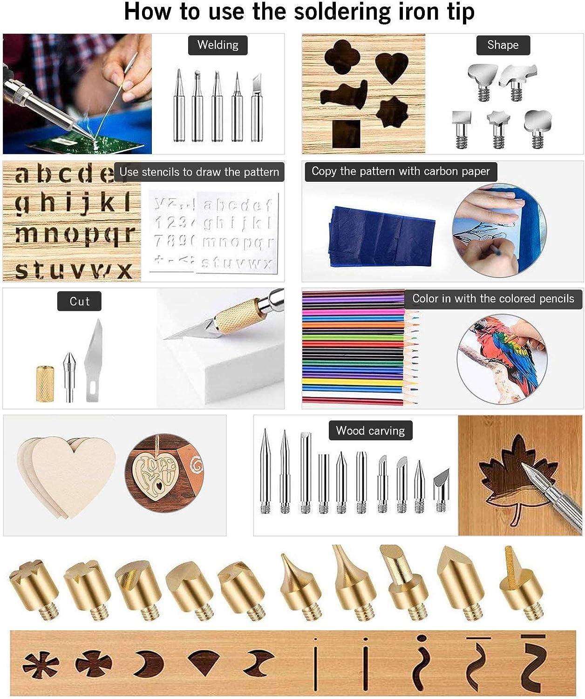 gravure sur cuir Ensemble de fer /à souder /à pyrogravure DeerRanTec 81pcs fer /à pyrogravure /électrique pour bois , 60W 220-480 ℃ r/églable , id/éal pour le bois sculpture amateur