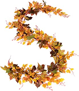 DearHouse 2 Pack Fall Garland Maple Leaf, 6.5 Ft/Piece Hanging Vine Garland Artificial Autumn Foliage Garland Thanksgiving...