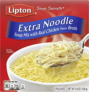 Lipton Soup Secrets Instant Soup Mix For a Warm Bowl of Soup Extra Noodle Soup Made With Real Chicken Broth Flavor 4.9 oz,...
