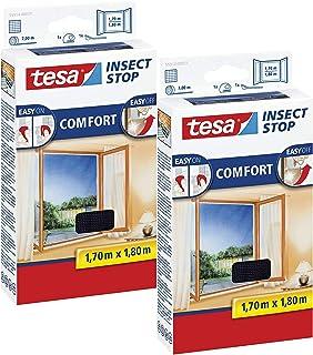 tesa Insect Stop Comfort Vliegengaas voor ramen, vliegengaas, zonder boren, 170 cm x 180 cm, 2-pack/antraciet (doorzichtig))