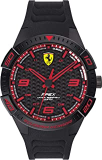 Ferrari Men's APEX Quartz Watch with Silicone Strap, Black, 20 (Model: 0830662)