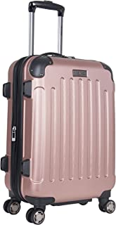 """Heritage Travelware Logan Square 20"""" Lightweight Hardside Expandable 8-Wheel Spinner Carry-On Suitcase, Metallic Rose Gold"""