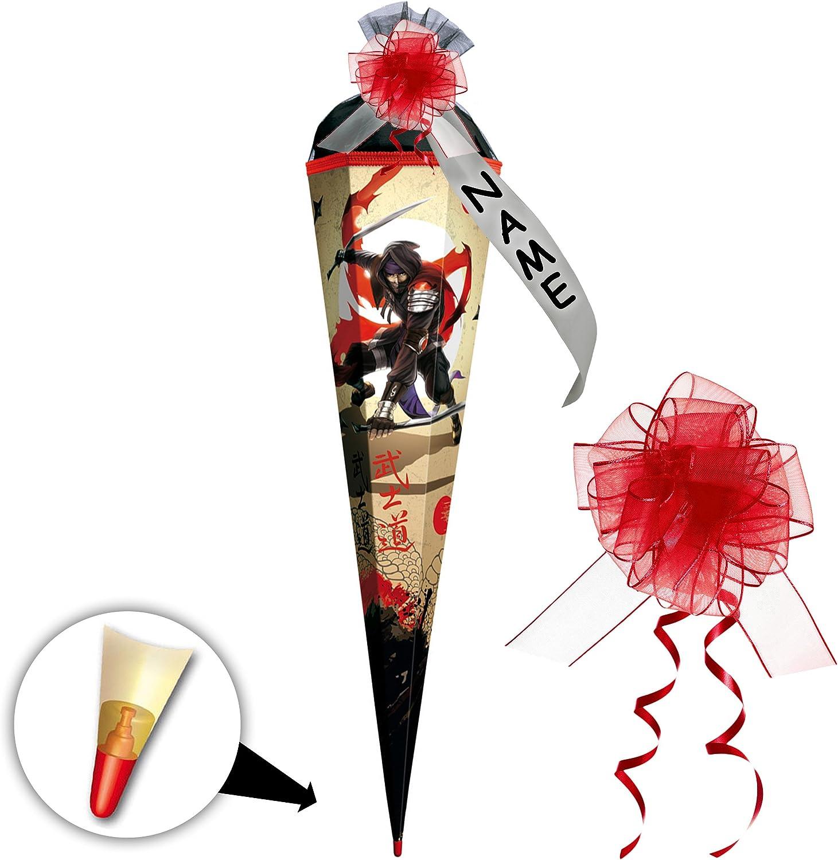 Alles-meine  GmbH 10 Stück _ Schultüten -  Ninja Kmpfer - Samurai  - 50 cm - rund - incl. individueller Schleife - mit Namen - mit Tüllabschlu - Zuckertüte