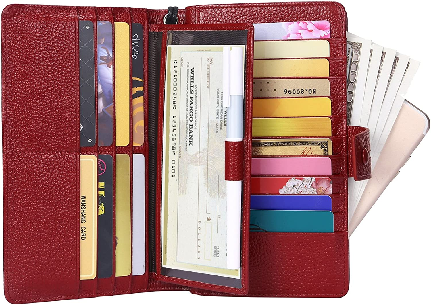 AINIMOER Women's Big RFID Blocking Leather Zip Around Wallets for Womens Clutch Organizer Checkbook Holder Large Travel Purse