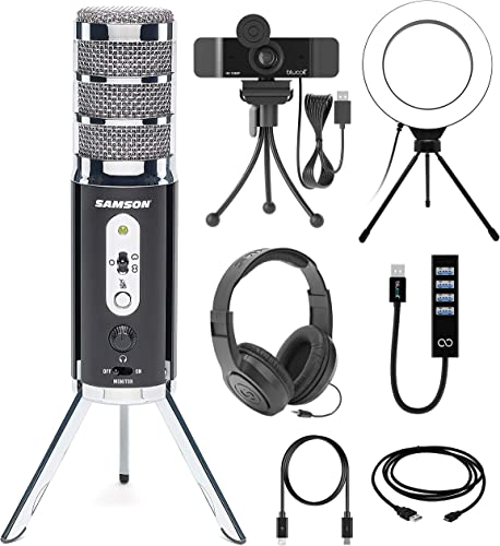 """new arrival Samson Satellite USB/iOS Broadcast Microphone for Recording, Podcasting, and Streaming (SASAT) Bundle with Blucoil 6"""" Ring Light, 1080p USB Webcam, discount USB-A Mini Hub, and Samson SR350 discount Headphones online sale"""