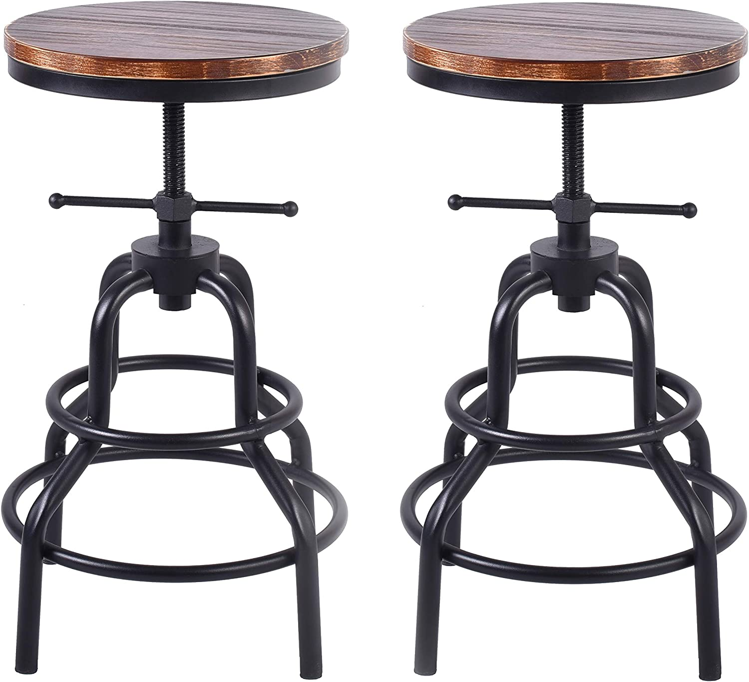 Swiveling Vintage Industrial Bar Stool,Adjustable Round Wood and Metal Pipe Stool,Cast Iron Kitchen Counter Height Bar Stool,20 Inch-27 Inch (Brown, Set of 2)