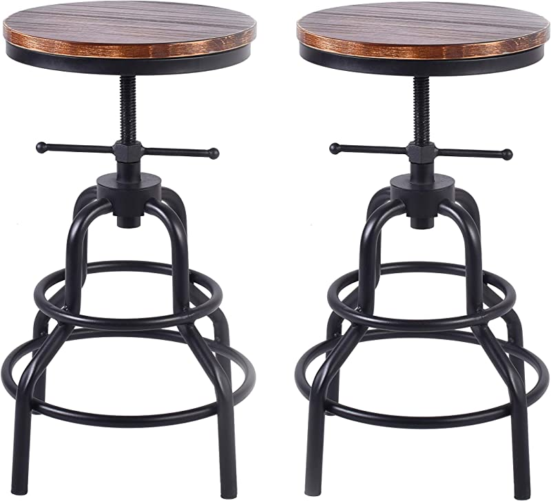LOKKHAN Vintage Industrial Bar Stool Rustic Swivel Bar Stool Round Wood And Metal Stool Kitchen Counter Height Adjustable Pipe Stool Cast Iron Stool 27 Inch No Assembly Required Set Of 2