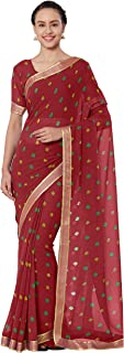 Sourbh Women's Faux Georgette Bandhni Print Saree with Blouse Piece (Maroon)