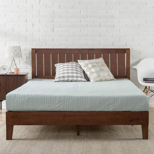 Zinus Deluxe Single Bed Frame Solid Wood Platform Bed with Solid Timber Headboard Mattress Foundation - Antique Espresso