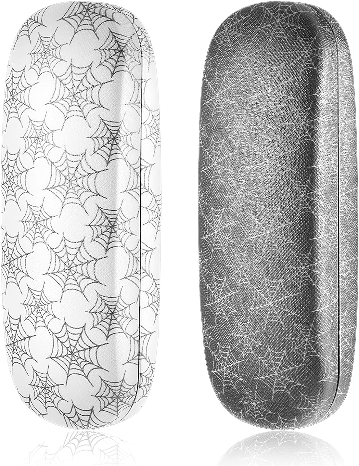 2 Pieces Hard Shell Eyeglasses Case Sunglasses Case Protective Spider Web Linen Cases for Halloween with Cleaning Cloth