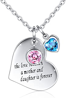 925 Sterling Silver Cubic Zirconia Love Heart Engraved Necklace for Women Birthday Christmas Gift, 18