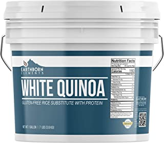 Natural Whole Grain White Quinoa, 1 Gallon Bucket, 7 lb, Gluten-Free, Raw, Vegan, Source of Plant Protein & Fiber, High Gr...