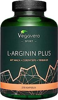 L-Arginina Plus Vegavero® | LA ÚNICA SIN ADITIVOS | Con Zinc + Tribulus Terrestris + Cordyceps Sinensis + Maca | 270 Cápsulas | Testosterona Hombre* + Vasodilatador + Masa Muscular | Pre Entreno