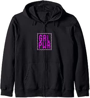 Girl Power GRL PWR Pink Stamp Zip Hoodie
