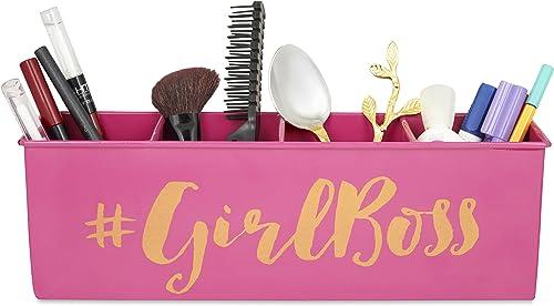 Elan Girlboss All In One Multi-functional 4 Compartment Desk Organizer (Pink)