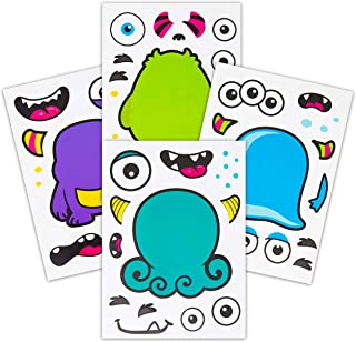 24 Make A Monster Stickers For Kids - Monster Themed Birthday Party Favors & Supplies - Fun Craft Project For Children 3+ - Let Your Kids Get Creative & Design Their Favorite Monster Stickers