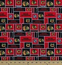 Cotton Chicago Blackhawks Block NHL Hockey Sports Team Cotton Fabric Print by The Yard (D160.04)