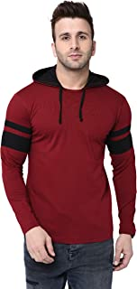 BI FASHION Men's Round Neck Contrast Hooded Full Sleeves Stripe T-Shirt