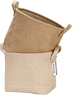 Sea Team Storage Paniers Organizer Box Bins in Jute and Cotton Linen Pliable with Handle Decorative for Home Toiletry Stat...