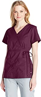 KOI Women's Katelyn Easy-fit Mock-wrap Scrub Top with Adjustable Side Tie, Merlot, Small