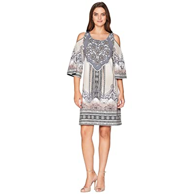 Hale Bob Night Blooms Matt Micro Fiber Jersey Dress (Beige) Women
