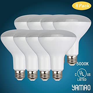 YAMAO BR30 LED Bulbs, 9W (65W Equivalent) Dimmable 5000K Daylight for Indoor Lighting, 650 Lumens, E26 Base & UL Listed (8 Pack)