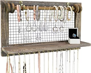 Greenco Rustic Wooden Wall Mount Jewelry Organizer with Removable Hanging Rod and Storage Shelf for Earrings, Bracelets, N...