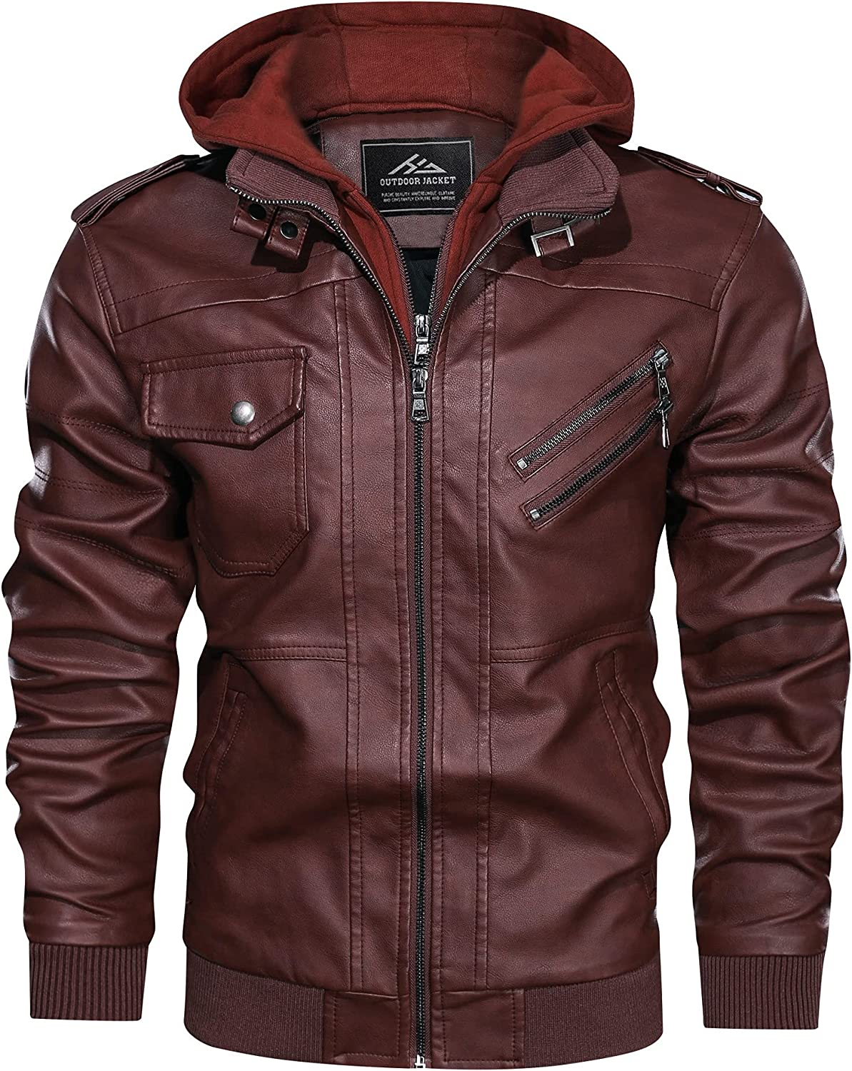 HJWWIN Mens Faux Leather Motorcycle Jacket Vintage Biker Bomber Jacket with Removable Hood