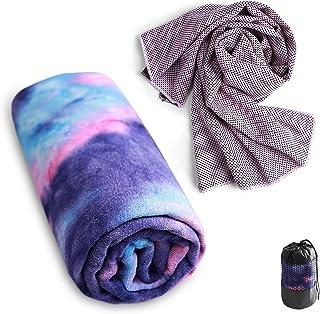 Sutekus Yoga Towel Non Slip Hot Yoga Mat Towel and Cooling Towel for Yoga Sport Gym Camping & More 2 Packs