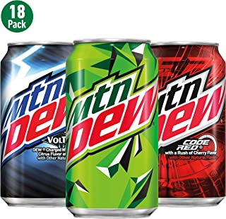 Soda Variety Pack with Mountain Dew, Dew Code Red, and Dew Voltage, 12 Fl Oz Cans, Pack..