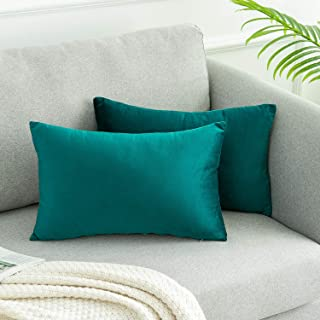 WLNUI Set of 2 Rectangle Soft Velvet Solid Teal Blue Decorative Oblong Lumbar Throw Pillow Covers Set Cushion Case for Sofa Couch Home Decor 12x20 Inch 30x50 cm