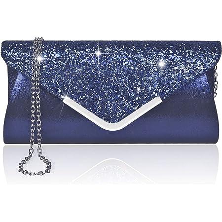 Larcenciel Damen Clutch Abendtasche Unterarmtasche Umhängetasche mit Strass-Steinen und Abnehmbarer Kette in den Farben Silber Gold Altrosa (blau)