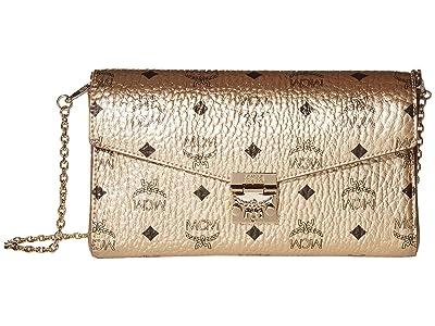 MCM Millie Visetos Small Crossbody Medium (New Champagne Gold) Handbags
