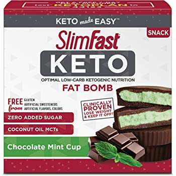 SlimFast Keto Fat Bomb Snacks, Mint Cup, 17 Grams, 14 Count Box