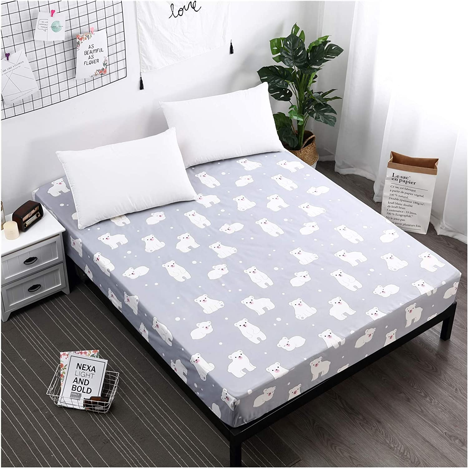 Advanced Hypoallergenic Waterproof Mattress Cover - Breathable Mattress Cover, Little White Bear,220X200+30cm
