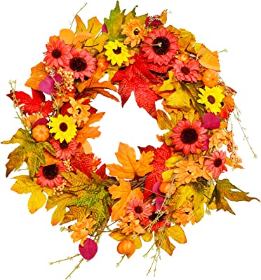 Amazon Com Collections Etc Berry And Autumn Leaves Wreath 20 Inch Diameter Leaf Wreath For Fall And Home Decor Home Kitchen