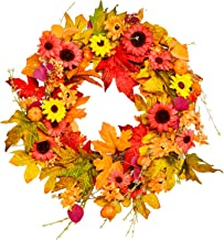 Fall Wreath, BESTTRENDY 20Inch Artificial Fall Wreath for Front Door Fall Wreath Decor Autumn Harvest Wreath with Pumpkins...