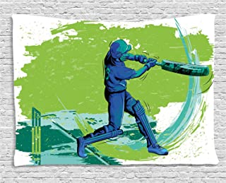 Ambesonne Sports Tapestry, Cricket Player Pitching Win Game Champion Team Paintbrush Effect, Wide Wall Hanging for Bedroom Living Room Dorm, 60
