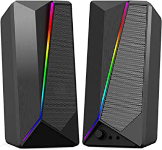 Computer Speakers - HaiZR 10W RGB Gaming Computer Speaker with Colorful LED Light and Stereo Bass Desktop Speaker, USB Pow...