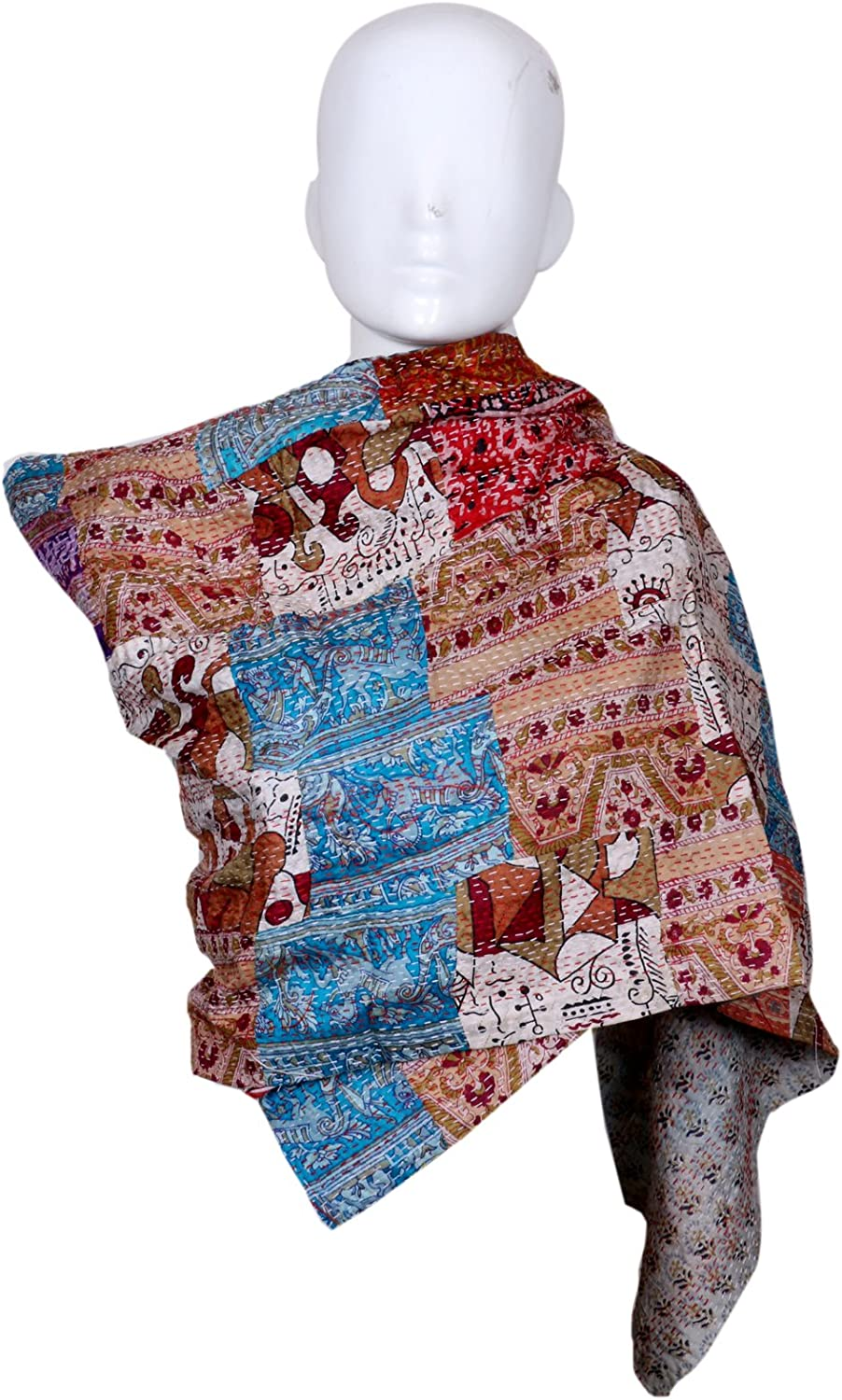 IndiStar Vintage Silk Hand Quilted Kantha Hand Work Stoles Reversible Scarves Scarf
