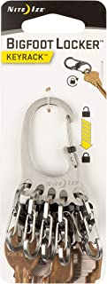 Nite Ize KLKBF-11-R6 Bigfoot Locker KeyRack, Carabiner Chain with 5 Stainless Steel Locking S-Biner Toes to Hold Keys Separately + Securely, 1, Silver