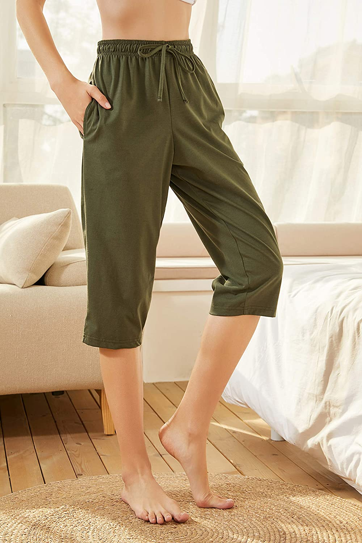 Soft Lounge Trousers with Pockets Sleepwear 100/% Cotton Women Cropped Pyjama Bottoms